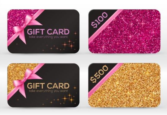 Glitter gift cards with bow vector set 01
