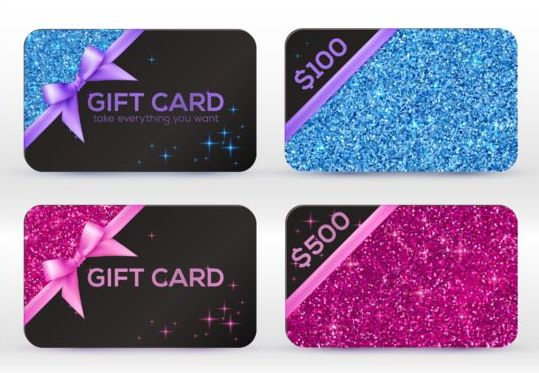 Glitter gift cards with bow vector set 04