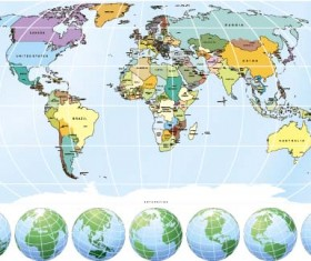 Globes and maps vector material