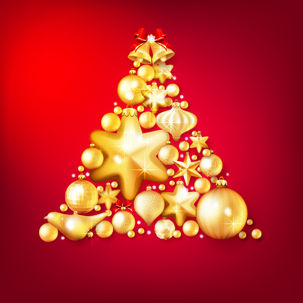 ab326edb2d2e Gold christmas baubles with red background vector 01 free download