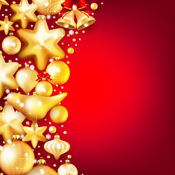 c019be565c5c Gold christmas baubles with red background vector 03 free download