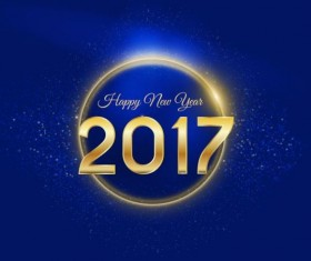 Golden 2017 happy new year with blue background vector