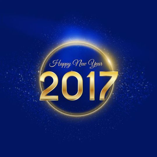 Free EPS file Golden 2017 happy new year with blue background vector ...