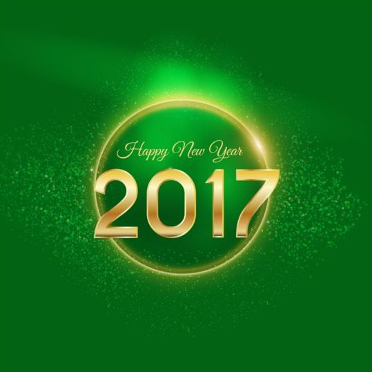 golden 2017 happy new year with green background vector 01