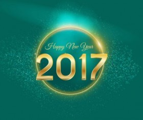 Golden 2017 happy new year with green background vector 02