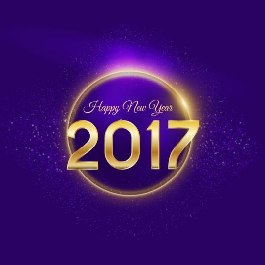 golden 2017 happy new year with purple background vector