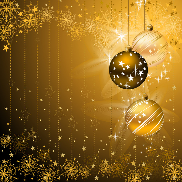 Christmas Background Images Gold.Golden Christmas Background With Baubles Vector Free Download