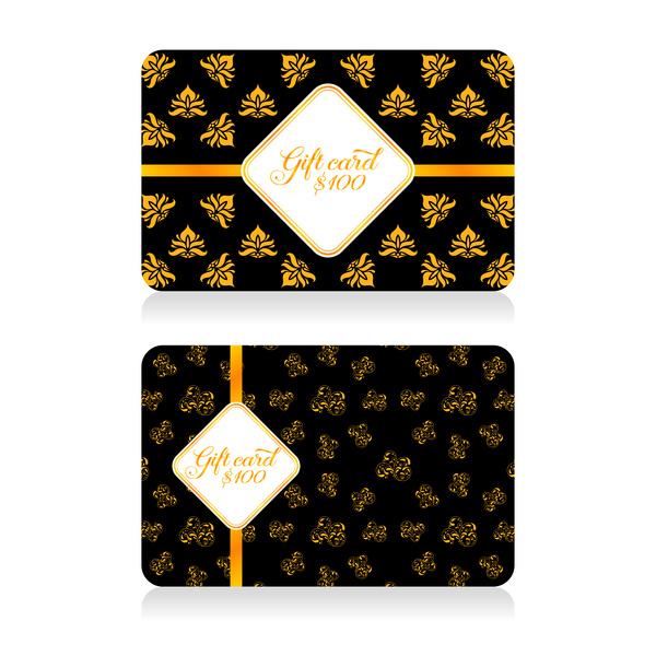 Golden gift card vectors