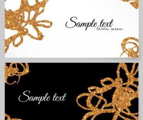 Golden glitter card vector template