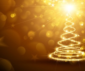 Golden glow christmas tree with halation background vector