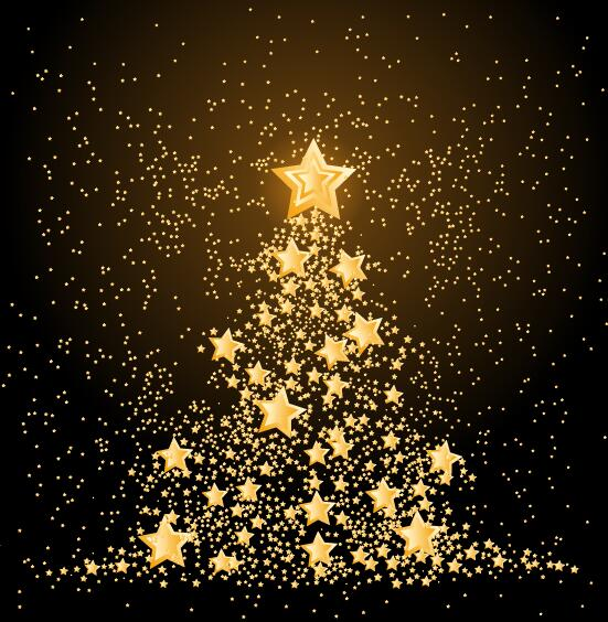 Golden Stars With Christmas Tree Vector Material Free Download