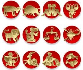 Golden zodiac wiht round red icons vector