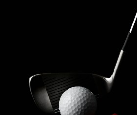 Golf with clubs and black background Stock Photo 02