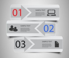 Gray banner option infographic template vectors