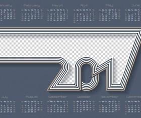 Gray calendar 2017 design vector