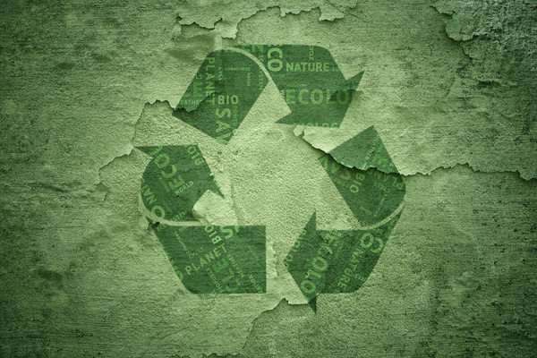 Green Background Green Recycle Symbol Stock Photo