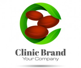 Green clinic brand logo design vector