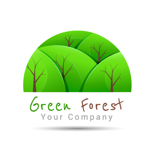 green forest logo design vector free download