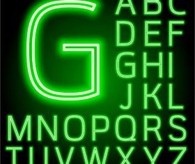 Green neon alphabet vector material