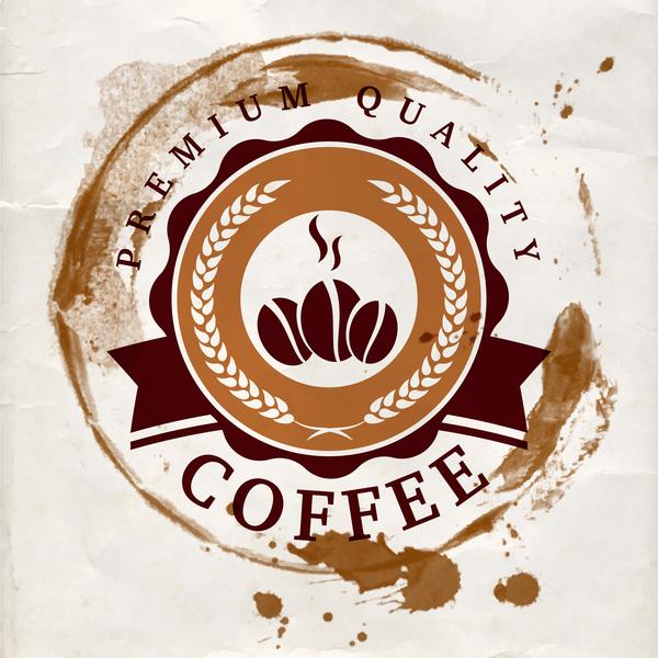 Grunge coffee labels vintage vector set 03
