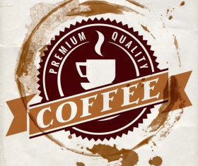 Grunge coffee labels vintage vector set 07