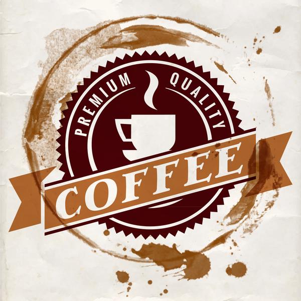Grunge coffee labels vintage vector set 07