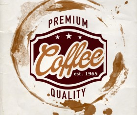 Grunge coffee labels vintage vector set 08