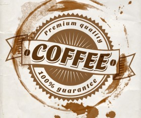 Grunge coffee labels vintage vector set 09