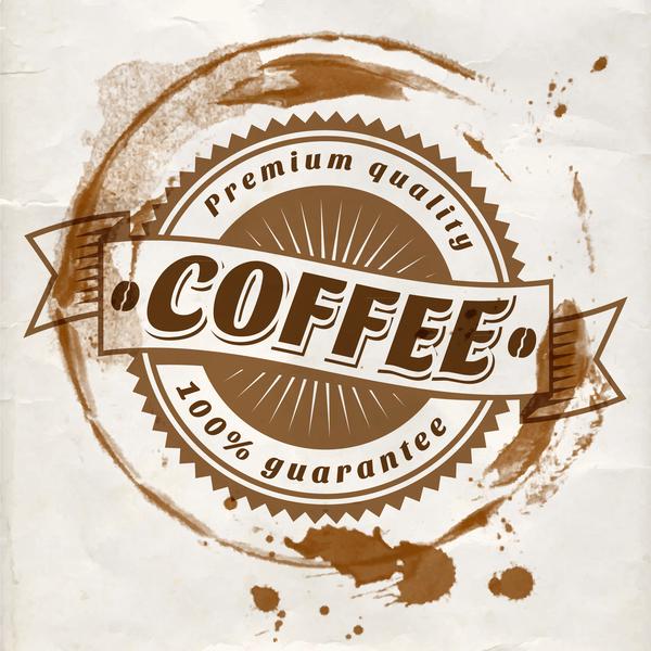Grunge coffee labels vintage vector set 09