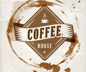 Grunge coffee labels vintage vector set 13
