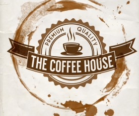 Grunge coffee labels vintage vector set 14