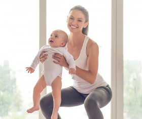 HD picture And the baby with yoga exercise young mother 01