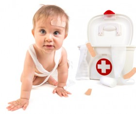 HD picture Cute baby with medicine box 01