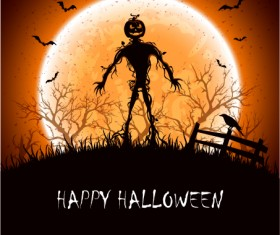 Halloween night with monster vector material
