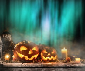 Halloween pumpkin on old wooden table HD picture 01
