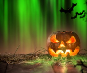 Halloween pumpkin on old wooden table HD picture 02