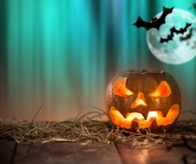 Halloween pumpkin on old wooden table HD picture 03