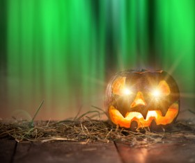 Halloween pumpkin on old wooden table HD picture 04