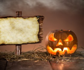 Halloween pumpkin on old wooden table HD picture 05