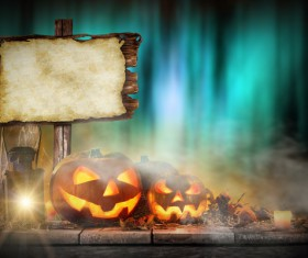 Halloween pumpkin on old wooden table HD picture 06