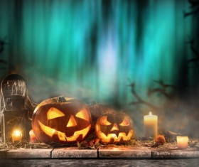 Halloween pumpkin on old wooden table HD picture 07