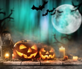 Halloween pumpkin on old wooden table HD picture 08