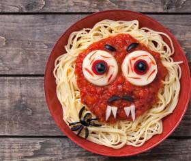 Halloween scary pasta food vampire face Stock Photo