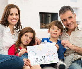 Happy families and children painting