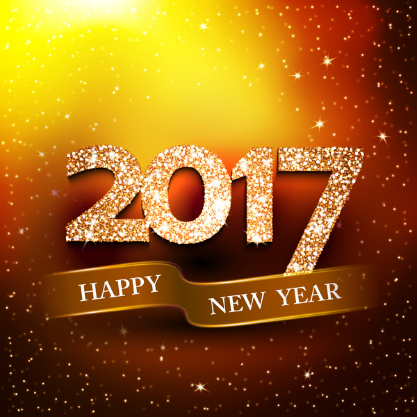 happy new year banner with 2017 shiny background vector