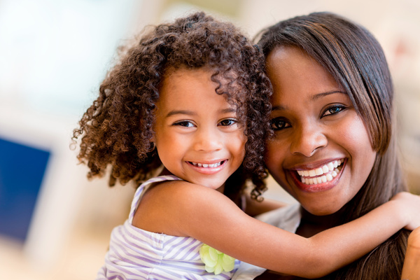 Happy smiling mother and daughter free download