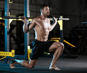 Healthy Exercise Men with Barbell HD picture