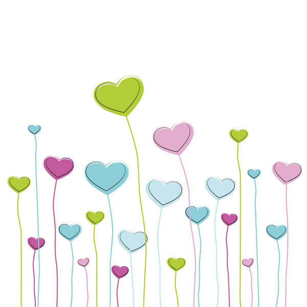 Heart grass valentine illustration vector 01