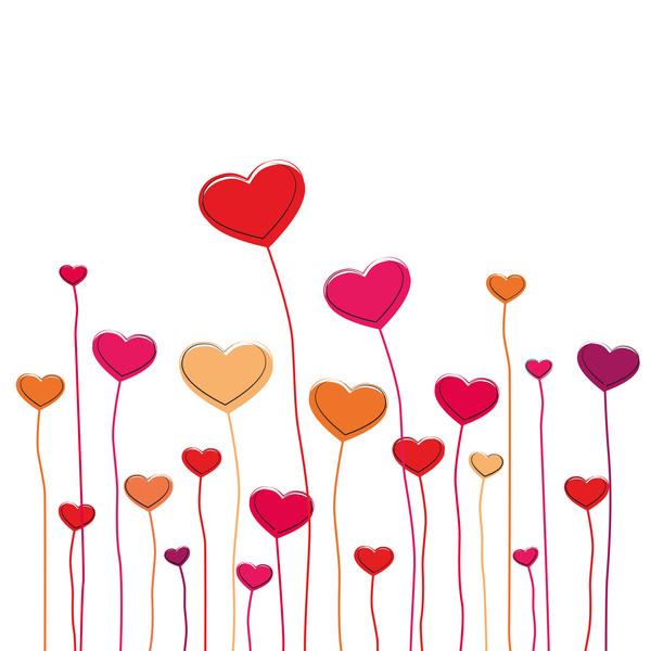 Heart grass valentine illustration vector 03