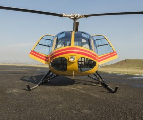 Helicopters to be serviced at the apron Stock Photo